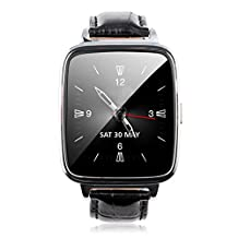 Bessky® 2015 New Fashion Bluetooth 4.0 Smart Watch Genuine Leather Starp Sync Call Music Pedometer HR Smart Watch (black)