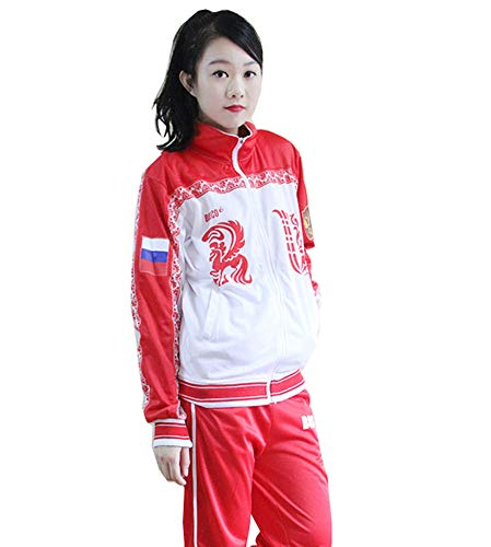 Dawn BG Unisex Jacket Yuri Plisetsky Cosplay Uniform Sportswear Costume (XXXL, Red) ()
