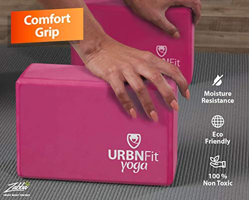 URBNFit Yoga Block - (2PC Blocks Set with Stretch Strap) - Moisture Resistant High Density EVA Foam Block - Improve Balance and Flexibility Perfect for Home or Gym - Free PDF Workout Guide (Pink)