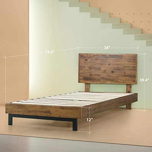 Zinus Tricia Platform Bed / Mattress Foundation / Box Spring Replacement / Brown, Twin