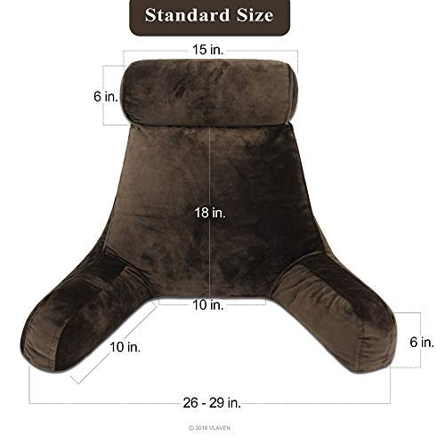 VLAVEN 291818SM-CH02 Reading, Children's, Lumbar, Contoured Support Pillow, Body positioners, Standard, Chocolate