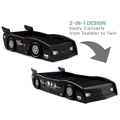 Delta Children Grand Prix Race Car Toddler & Twin Bed - Made in USA, Black 4