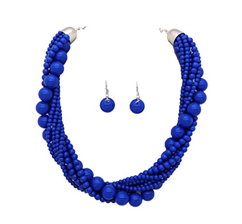 Fashion 21 Womens Twisted Multi-Strand Simulated Pearl, Acrylic Ball Statement Necklace and Earrings Set (Dark Blue - Acrylic Ball)