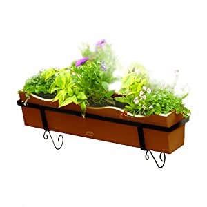 Highwood Flower Box with Traditional Brackets, Toffee