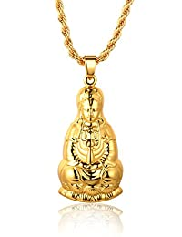 """Halukakah """"GOLD BLESS ALL"""" 18k Real Gold Plated Avalokitesvara Guanyin Pendant Necklace with FREE Rope Chain 30"""""""