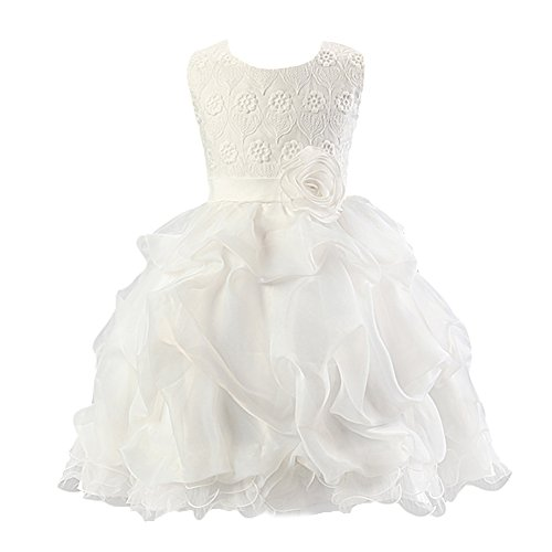 White Embroidered Organza Dress - Kids Girls Organza Embroidered Dress for Sepcial Occasion White 130