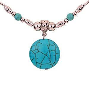 Yazilind Alloy Chain Green Round Rimous Stone Pendant Necklace