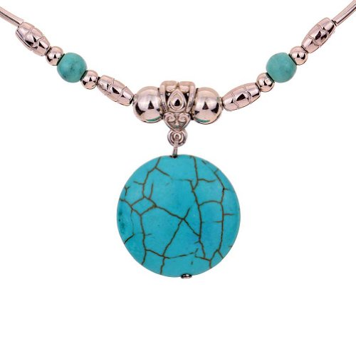 YAZILIND-Alloy-Chain-Green-Round-Rimous-Stone-Pendant-Necklace