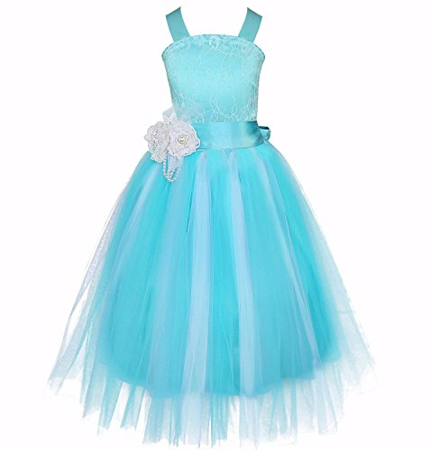 FEESHOW Feather Sash Fluffy Tulle Flower Girl Dress for Wedding Pageant Party Gown Crossed Back Blue 12 (Pageant Party Dress)