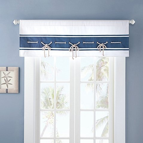- Nautical Looking Sailor Window Valance with Sailing Rope Trim, Mini Gromme, in Blue/white