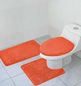 Amazon Com 3 Piece Bathroom Rug Contour Rug And Lid