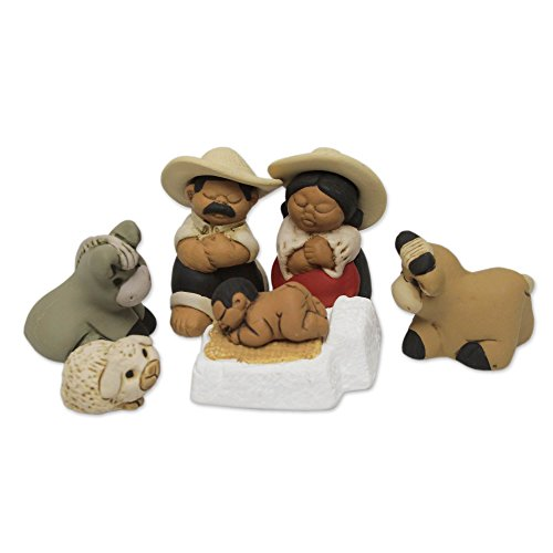 NOVICA HD0028 Characato Born' (Set of 7) Ceramic Nativity Scene