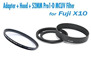 EzFoto Adapter Ring + Hood (100% replaces FUFJIFILM LH-X10) + 52mm Pro1-D Super Slim Multi-Coated UV Filter for Fuji Finepix X10