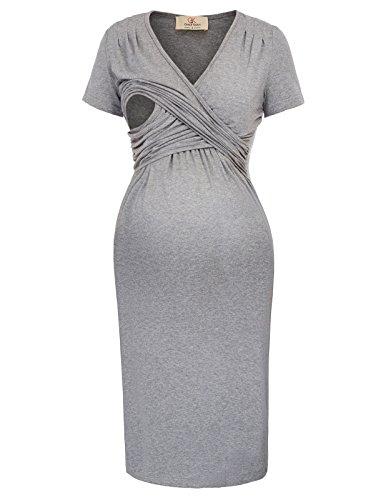 GRACE KARIN Maternity Short Sleeve V-Neck Nursing Causal Dress