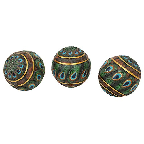 Design Toscano Peacock Feathered Orbs Decorative Accent Balls, 3 Inch, Set of Three, Full Color