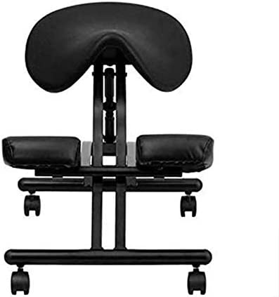 LEILEI Chaise de Bureau en Cuir Knee Chair Tabouret Chaise de Bureau Genouillère Chaise à Genoux à Posture correcte avec Selle Roulement Ergonomique 150Kg,Marron