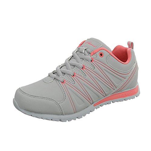 Ital-Design Damenschuhe Herrenschuhe Unisex Low Top Sneakers Sportschuhe Freizeitschuhe Hellgrau S1509G