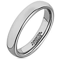 MNH 4mm Tungsten Polished Comfort Fit Domed Metal Wedding Band Promise Rings for Her
