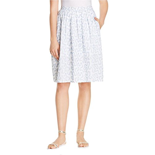 (MICHAEL Michael Kors Womens Embroidered Pleated A-Line Skirt Blue 2)