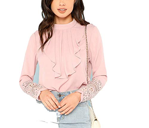 Pink Flounce Neck Lace Cuff Top Elegant Stand Collar Long Sleeve Ruffle Blouse Women Autumn Plain Workwear Shirt Tops,Pink,M ()