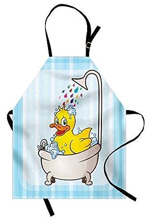 vhjg1og8fy - Delantal de pato con diseño de dibujos animados que toma un baño colorido gotas fondo ...