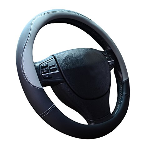 Price comparison product image Microfiber Leather Steering Wheel Covers Universal 15 inch, Gray
