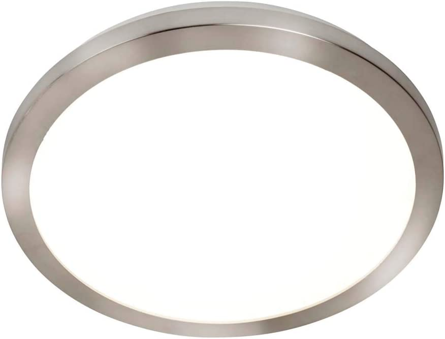 Searchlight 8101-40SS Bathroom Flush Ceiling Light in Satin Silver with Acrylic Dia 400mm