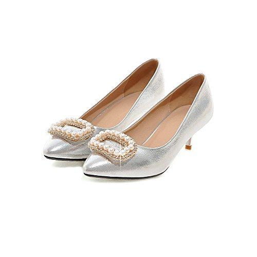 AgooLar Damen Spitz Zehe Mittler Absatz Lackleder Eingelegt Ziehen auf Pumps Schuhe Silber
