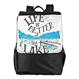 FVCXKM Personalized Unisex Outdoors Backpack,Travel/Camping/School-Life is Better at The Lake Adjustable Hiking Travel Daypack for Women,Men