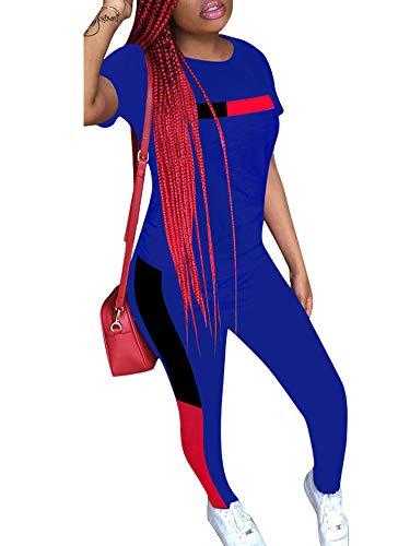 Women Striped Sweatsuits Short Sleeve Topd Slim Pants 2 Pieces Outfits Set Jumpsuit Blue M