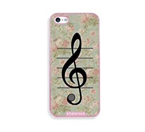 Shawnex VIntage Floral Music Note Treble Clef Pink Plastic iPhone 5 & 5S Case - Fits iPhone 5 & 5S