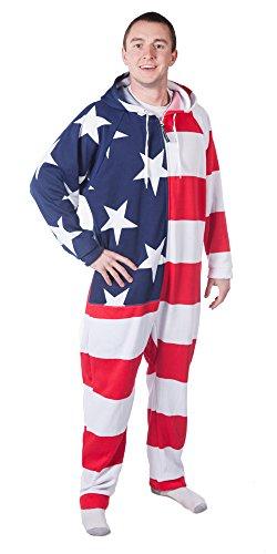 ight Adult Onesie - USA Flag - M ()