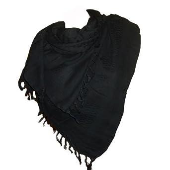 08759afc8249 itendance Keffieh foulard palestinien 100% coton tissé noir uni  Amazon.fr   Vêtements et accessoires