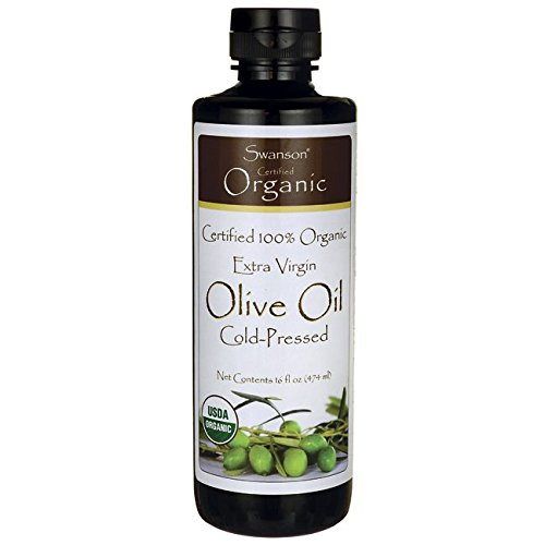 Swanson Certified 100% Organic Extra Virgin Olive Oil, Cold Pressed 16 fl oz (473 ml) Liquid