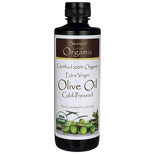 Swanson Certified 100% Organic Extra Virgin Olive Oil, Cold Pressed 16 fl oz (473 ml) Liquid