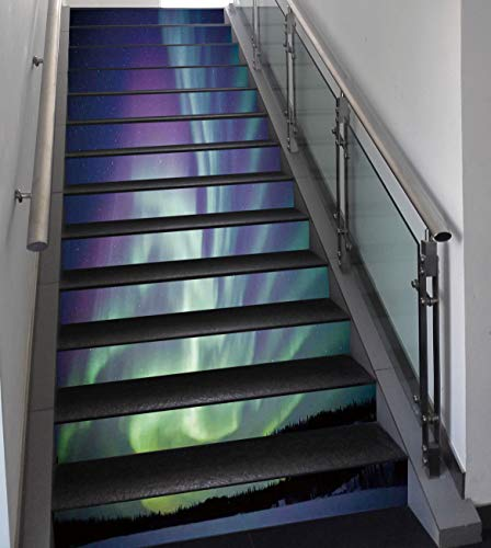 Stair Stickers Wall Stickers,13 PCS Self-adhesive,Northern Lights,Exquisite Atmosphere Solar Starry Sky Calming Night Image,Mint Green Dark Blue Violet,Stair Riser Decal for Living Room, Hall, Kids Ro by SCOCICI