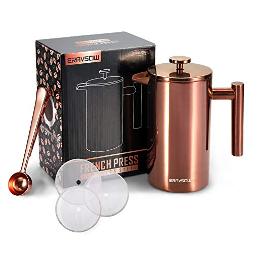 ERAVSOW French Press Coffee Maker, Double Walled Insulated Stainless Steel Coffee Pot Kit with 3 Layer Filters and Measuring Spoon- 34 oz/ 1000 ml