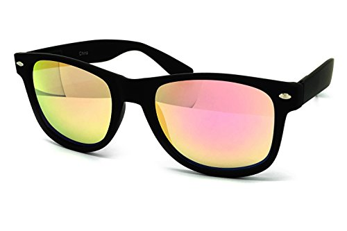 Candy Finish (O2 Eyewear 97800 Premium Soft Horned Rim Matte Finish Flash Candy Mirror Revo Retro Sunglasses (MATTE BLACK, PINK GOLD))