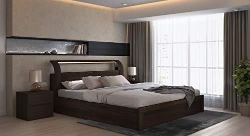 Urban Ladder Sutherland Hydraulic Storage Smart Bed  Bed Size : King, Finish : Dark Walnut