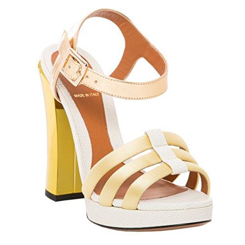 White Fendi Leather (Fendi Women's Chameleon Platform Sandal Leather White Gold 37 M EU)
