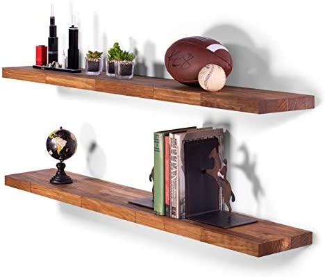 DAKODA LOVE Butcher Block Floating Shelves USA Handmade Wall Mounted Hidden Single Bar Floating Shelf Bracket Farmhouse Rustic Pine Wood Set of 2 Buckskin