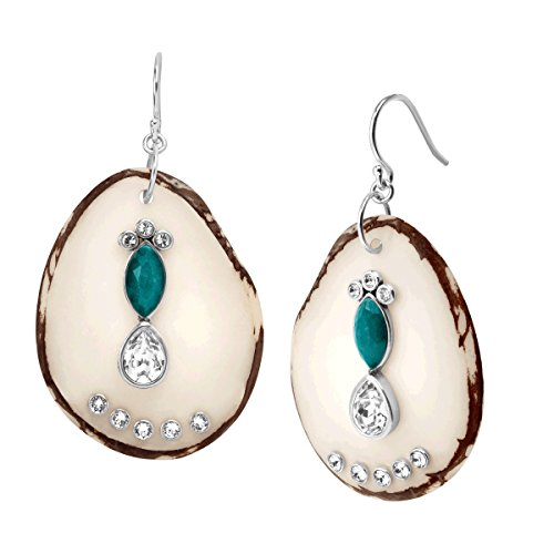(Silpada 'Polished Palms' Natural Tagua Nut & Quartz Drop Earrings with Swarovski Crystals in Sterling Silver)