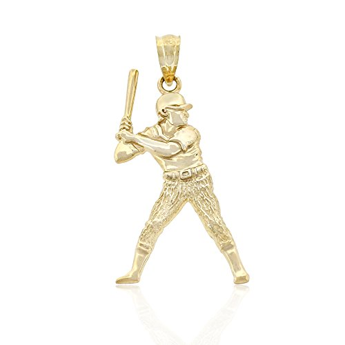 10k Gold Baseball Pendant - Charm America Gold Baseball Player/Batter Charm - 10 Karat Solid Gold