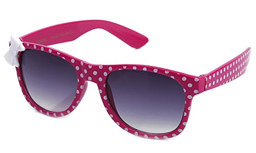 Kyra Kids Plastic Polka Dot Bow Sunglasses in Hot Pink -