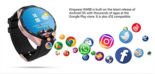 Amazon.com: T.Face KW88 Smart Watch Android 5.1 GPS 3G WIFI Smartwatch Mtk6580 Bluetooth SIM Android Camera Heart Rate Monitor Smart Watch (A): Cell Phones ...