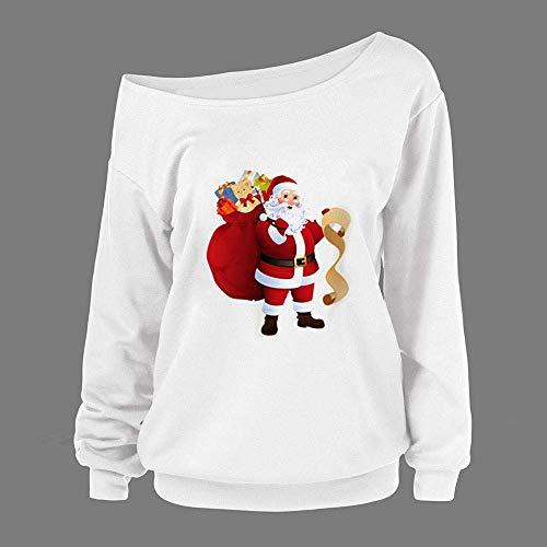 Felpa Natale Donna White Con Maglione Stampa Lunghe Semplice Di 3 A Top Maniche Glamorous Da Casual In Maglia 56qYf