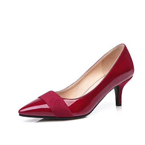 AllhqFashion Womens Patent Leather Pull-On Pointed Closed Toe Kitten-Heels Solid Pumps-Shoes Claret