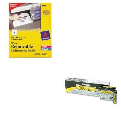 KITAVE6465EVEEN91 - Value Kit - Avery Removable Inkjet/Laser ID Labels (AVE6465) and Energizer Industrial Alkaline Batteries (EVEEN91)
