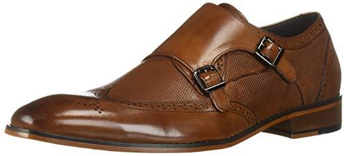 STACY ADAMS Men's LaVine Wingtip Double Monk Strap Loafer, Saddle tan, 11.5 M US