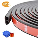 52Ft Car Weatherstrip Rubber Seal Strip for Car Doors Windows Engine Cover, Universal Automotive Weather Stripping Protector, B Shape